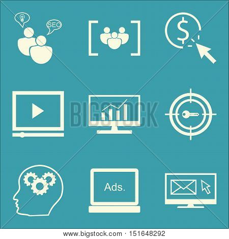 Set Of Seo, Marketing And Advertising Icons On Target Keywords, Comprehensive Analytics, Pay Per Cli