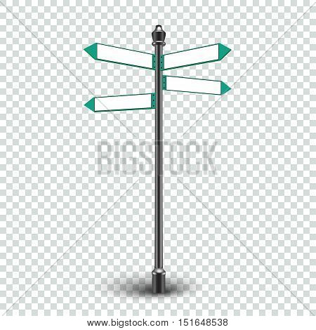 Blank white road signs on transparent background. Vector eps10