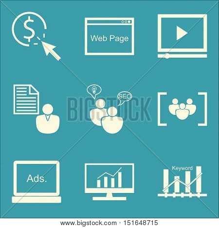 Set Of Seo, Marketing And Advertising Icons On Keyword Ranking, Web Page, Client Brief And More. Pre