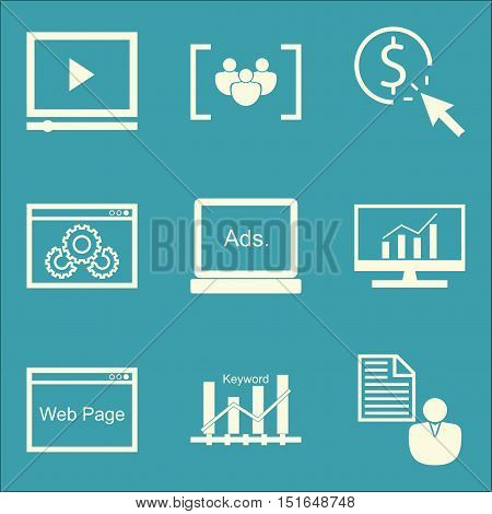 Set Of Seo, Marketing And Advertising Icons On Video Advertising, Website Optimization, Client Brief