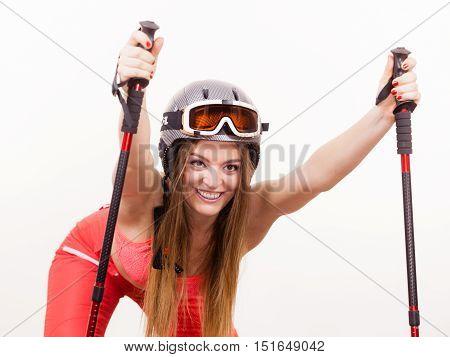 Female Skier Preparing For Season.