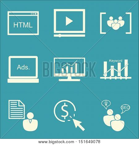 Set Of Seo, Marketing And Advertising Icons On Client Brief, Pay Per Click, Display Advertising And