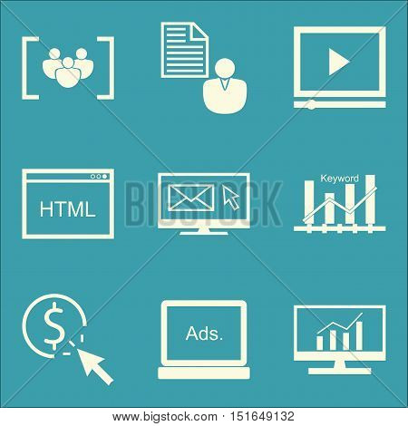 Set Of Seo, Marketing And Advertising Icons On Client Brief, Display Advertising, Pay Per Click And