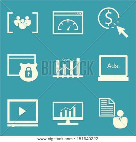 Set Of Seo, Marketing And Advertising Icons On Client Brief, Page Speed, Video Advertising And More.