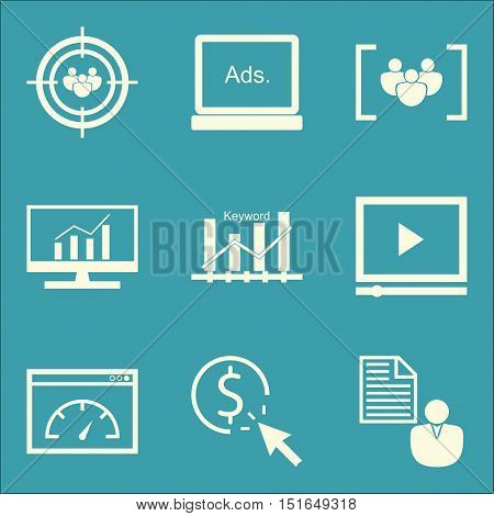 Set Of Seo, Marketing And Advertising Icons On Display Advertising, Video Advertising, Keyword Ranki