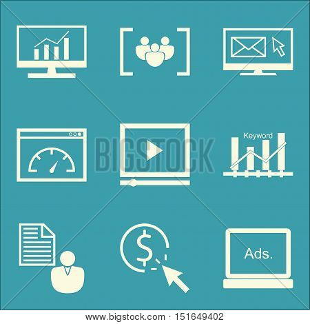 Set Of Seo, Marketing And Advertising Icons On Comprehensive Analytics, Focus Group, Pay Per Click A