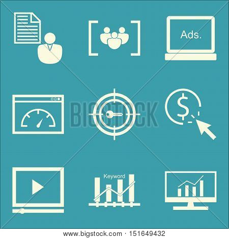 Set Of Seo, Marketing And Advertising Icons On Video Advertising, Comprehensive Analytics, Focus Gro