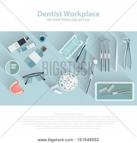 Dental care equipment symbols. Teeth dentistry care mouth health set with inspection dentist treatment isolated. Vector illustration EPS10