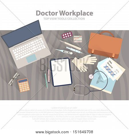 Flat health care and medical research background. Healthcare system concept. Medicine and chemical engineering.  First aid and diagnostic equipment. Vector eps10