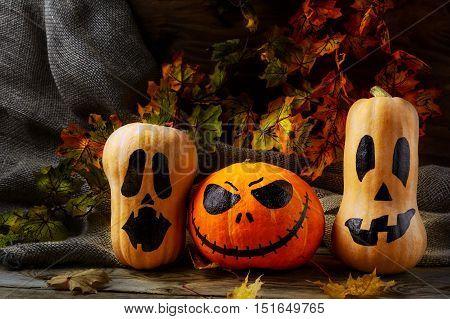 Halloween pumpkin heads on dark rustic background. Halloween symbol jack-o-lantern background.