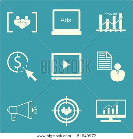 Set Of Seo, Marketing And Advertising Icons On Client Brief, Pay Per Click, Audience Targeting And M