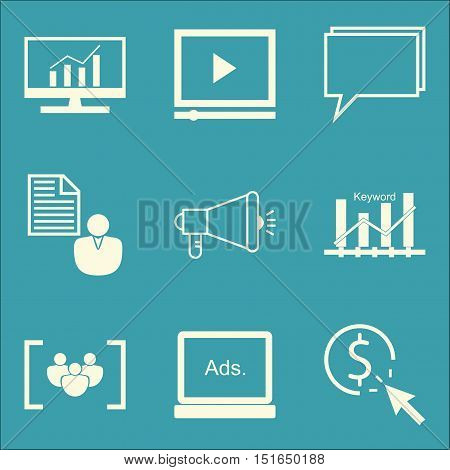 Set Of Seo, Marketing And Advertising Icons On Keyword Ranking, Client Brief, Online Consulting And