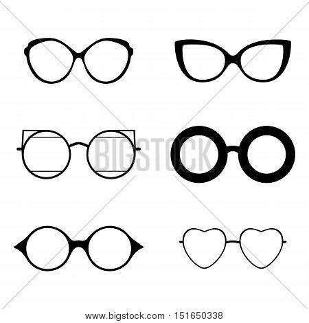 Retro collection of 6 various glasses. black silhouettes. Eye glasses set. Vector illustration EPS 10