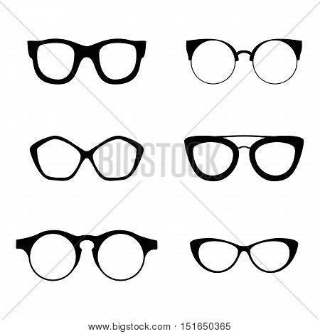 Retro collection of 6 various glasses black silhouettes. Eye glasses set. Vector illustration EPS10