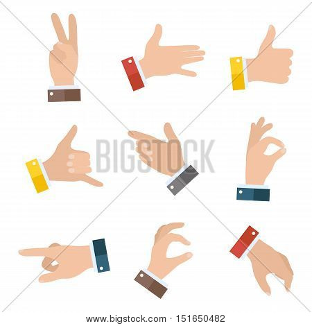 Collection open empty hands showing different gestures. 9 icons set isolated on white background. Vector hand illustration EPS10