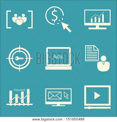 Set Of Seo, Marketing And Advertising Icons On Client Brief, Pay Per Click, Comprehensive Analytics