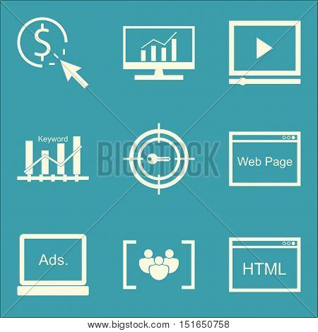 Set Of Seo, Marketing And Advertising Icons On Keyword Ranking, Video Advertising, Html Code And Mor