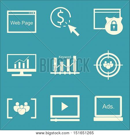 Set Of Seo, Marketing And Advertising Icons On Keyword Ranking, Focus Group, Comprehensive Analytics