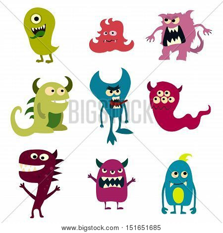 Doodle monsters set. Colorful toy cute alien monster. Vector EPS 10