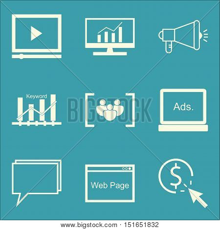 Set Of Seo, Marketing And Advertising Icons On Video Advertising, Display Advertising, Focus Group A