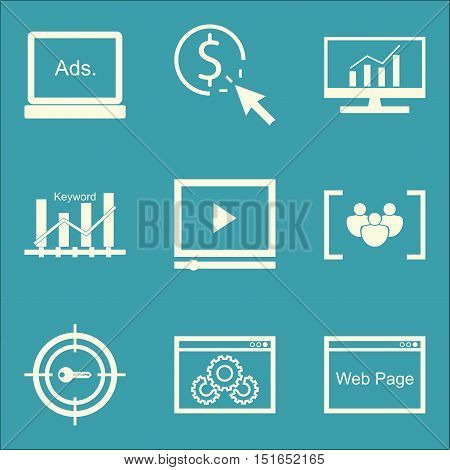 Set Of Seo, Marketing And Advertising Icons On Target Keywords, Video Advertising, Comprehensive Ana