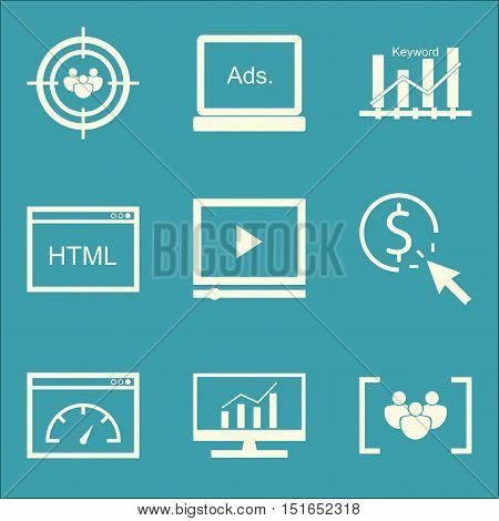Set Of Seo, Marketing And Advertising Icons On Display Advertising, Audience Targeting, Comprehensiv