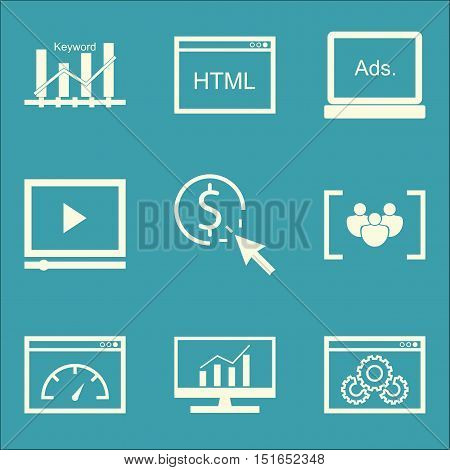 Set Of Seo, Marketing And Advertising Icons On Page Speed, Comprehensive Analytics, Video Advertisin