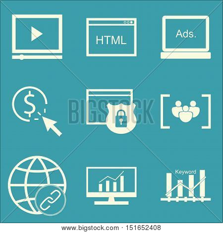 Set Of Seo, Marketing And Advertising Icons On Comprehensive Analytics, Website Protection, Link Bui