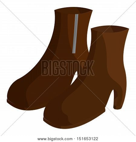 Pair of brown female boots icon. Cartoon illustration of pair of boots vector icon for web
