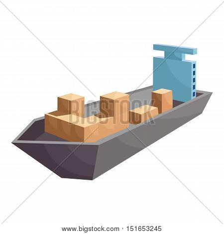 Cargo ship icon. Cartoon illustration of cargo ship vector icon for web