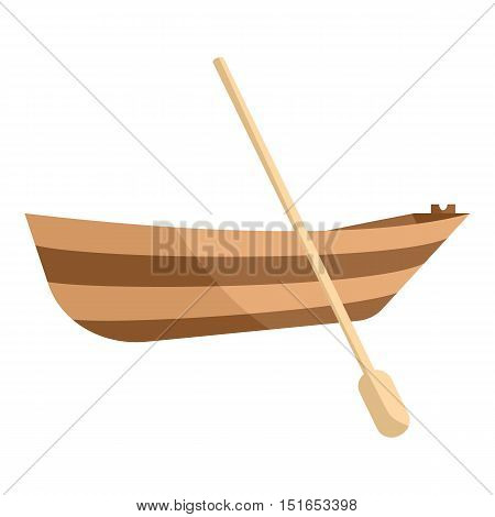 Wooden boat with paddle icon. Cartoon illustration of wooden boat vector icon for web