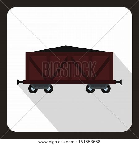 Brown train cargo wagon icon. Flat illustration of cargo wagon vector icon for web