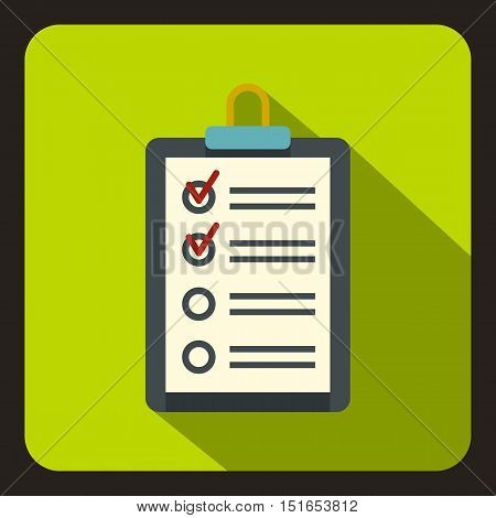 Clipboard with checklist icon. Flat illustration of clipboard with checklist vector icon for web