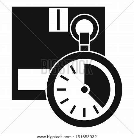 Cardboard box with stopwatch icon. Simple illustration of box with stopwatch vector icon for web