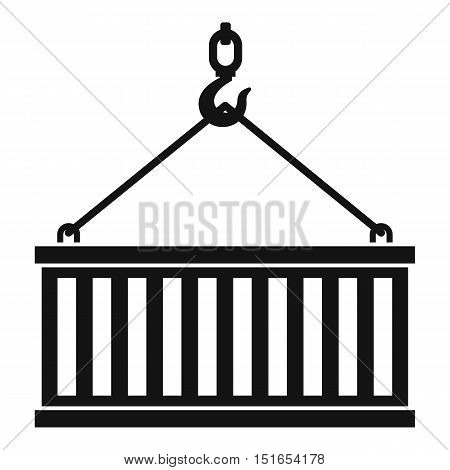 Crane hook lifts container icon. Simple illustration of crane hook lifts container vector icon for web