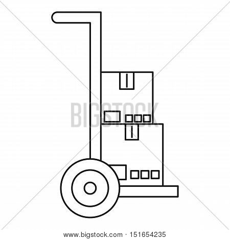 Hand truck with boxes icon. Outline illustration of hand truck with boxes vector icon for web