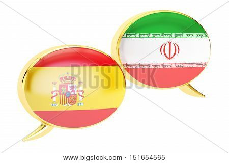 Speech bubbles Spanish-Persian conversation concept. 3D rendering isolated on white background
