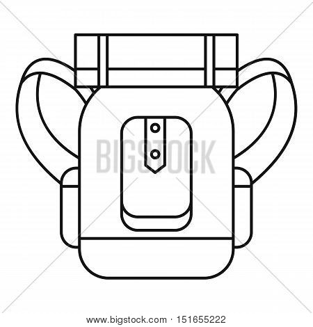 Tourist backpack with mat icon. Outline illustration of tourist backpack with mat vector icon for web