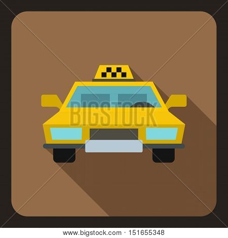 Yellow taxi car icon. Flat illustration of taxi car vector icon for web