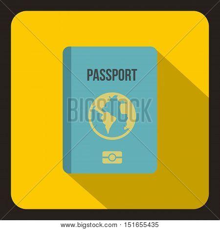 Blue passport icon. Flat illustration of blue passport vector icon for web