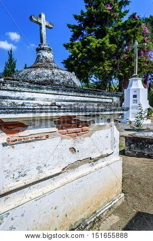 San Lazaro Cemetery Antigua Guatemala - May 6 2012: Tombs in cemetery in Spanish colonial town of Antigua