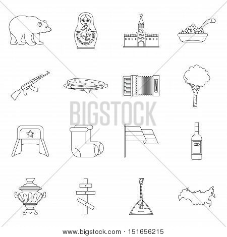 Russia icons set. Outline illustration of 16 Russia vector icons for web