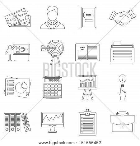 Business plan icons set. Outline illustration of 16 business plan vector icons for web