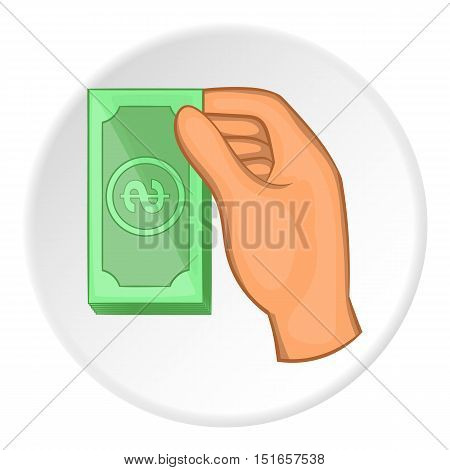 Arm with bill icon. Flat illustration of arm of bill vector icon for web