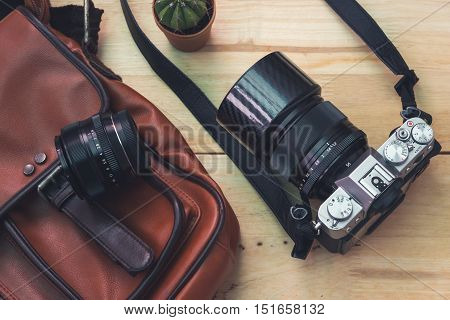 Vintage camera with with bag and accessory. vintage processed.