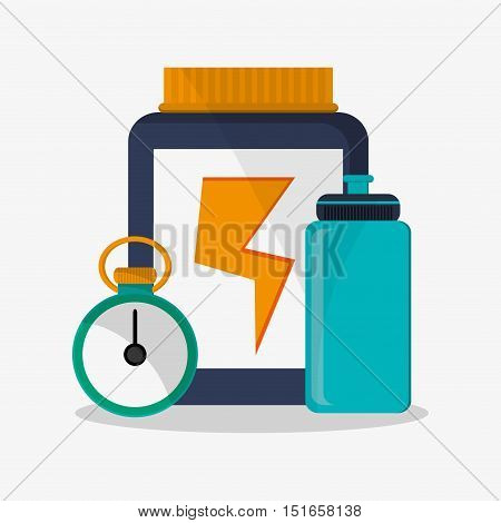 Protein jar bottle and chronometer icon. Fitness gym bodybuilding and healthy lifestyle theme. Colorful design. Vector illustration