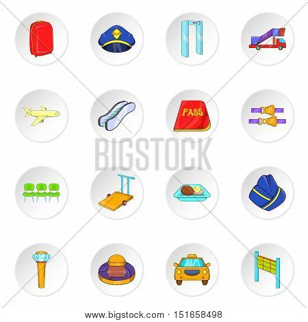 Airport icons set. Cartoon illustration of 16 airport vector icons for web