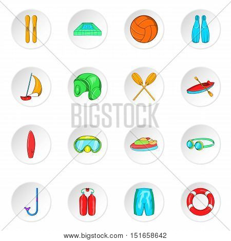 Water sport icons set. Cartoon illustration of 16 water sport vector icons for web