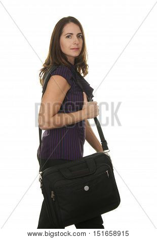 Beautiful Brunette Business Woman in her Late Thirties on a White Background Walking with a Laptop Bag