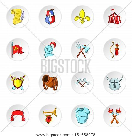 Knight icons set. Cartoon illustration of 16 knight vector icons for web